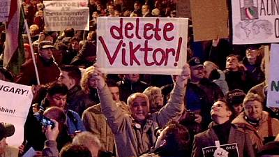 Demonstrators in Hungary celebrate internet tax victory