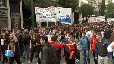 Greek students vent anger over budget cuts and reform plans