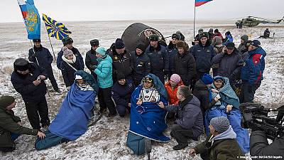 Safe touchdown in Kazakhstan for returning space station crew