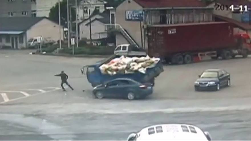 Watch: Pedestrian lucky to be alive after remarkable accident escape