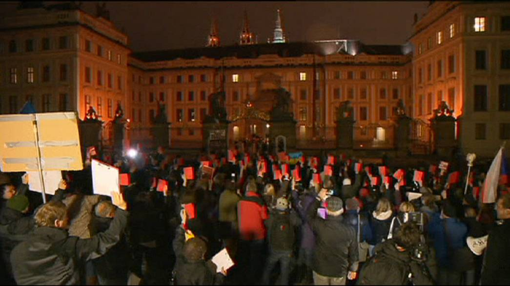 مظاهرة في براغ معارضة لزيمان