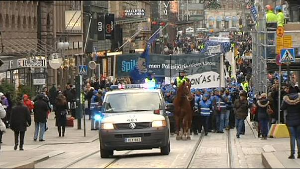 Police protest against spending cuts in Finland