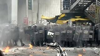 Protesters clash with police in Mexico City over missing students