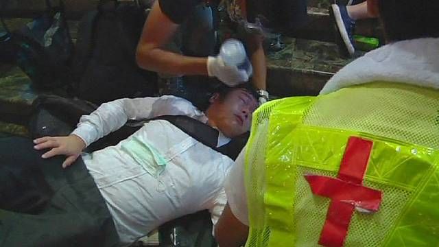 Hong Kong police spray potent substance onto pro-democracy activists