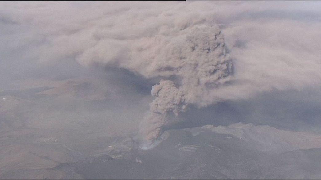 ثوران بركان آسو في اليابان