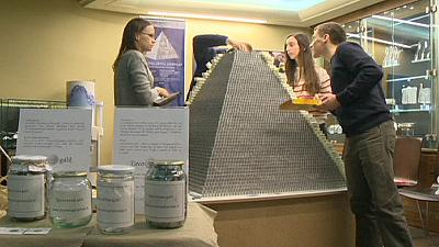 Lithuania builds 'world's largest coin pyramid' to celebrate move to euro