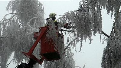 Ice and winds cause havoc in east and central Europe