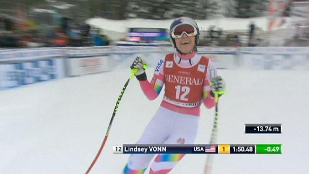 Lindsey Vonn returns to winning ways in World Cup downhill
