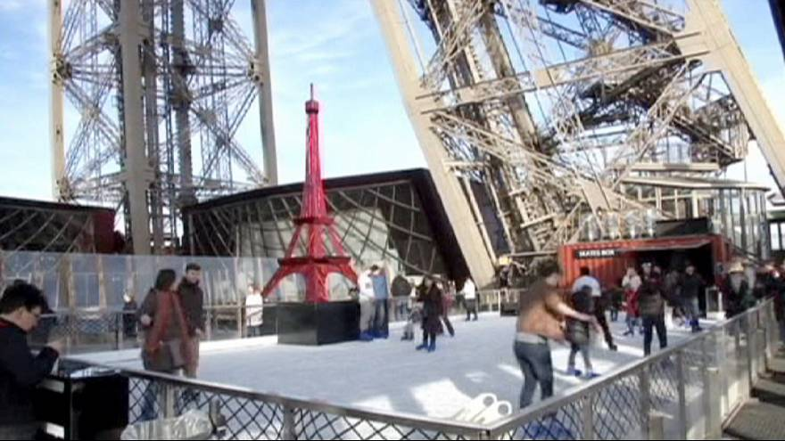Ice rink installed halfway up the Eiffel Tower