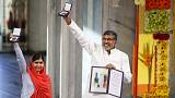 ملالا يوسف زاي وكايلاش ساتيارثي يتسلمان جائزة نوبل للسلام 2014