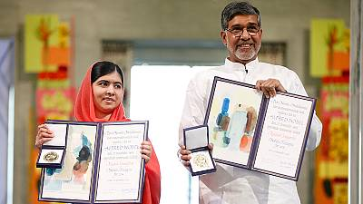 Nobel Peace prizewinners Malala and Satyarthi call for action on children's rights