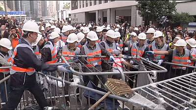 Hong Kong protest site clearance begins