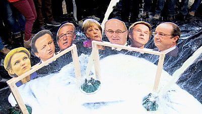 Manifestación de productores de leche en Bruselas