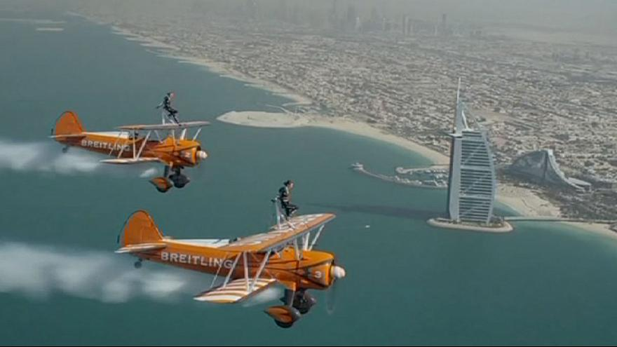Daredevil Breitling Wingwalkers perform in Dubai