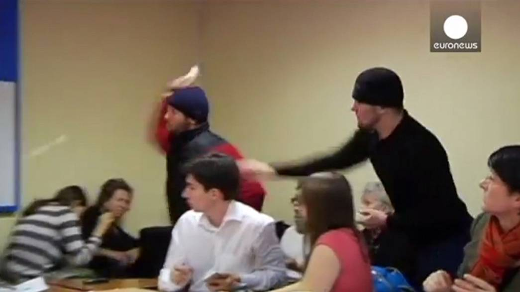 [WATCH] Human rights activists pelted with eggs over Chechnya claims