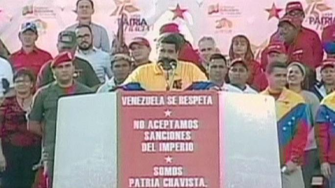 Manifestation et rhétorique anti-américaine au Venezuela