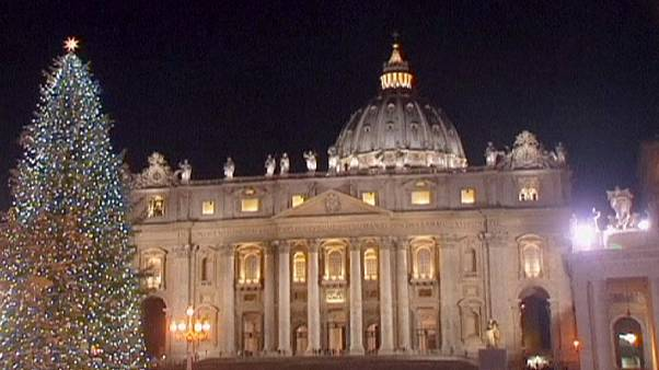 Vatican Christmas tree lights switched on in St Peter's Square