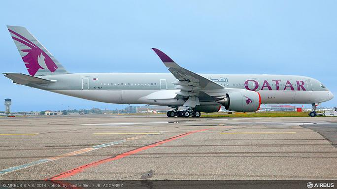 Qatar airlines take delivery of first Airbus A350