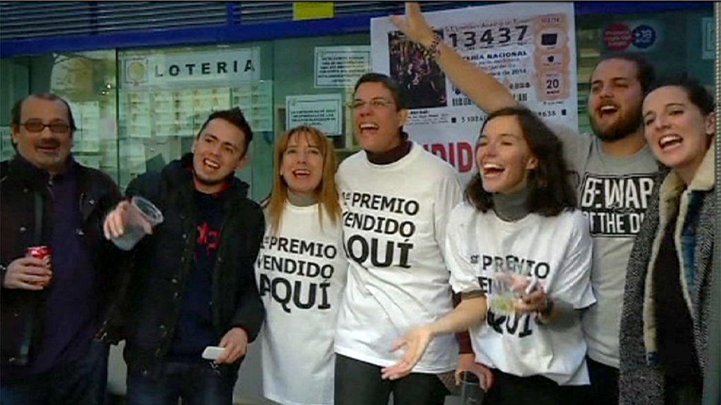 Lucky 'El Gordo' ticket holders celebrate lottery win