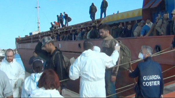 Italian coastguard intercepts merchant vessel packed with Syrian migrants