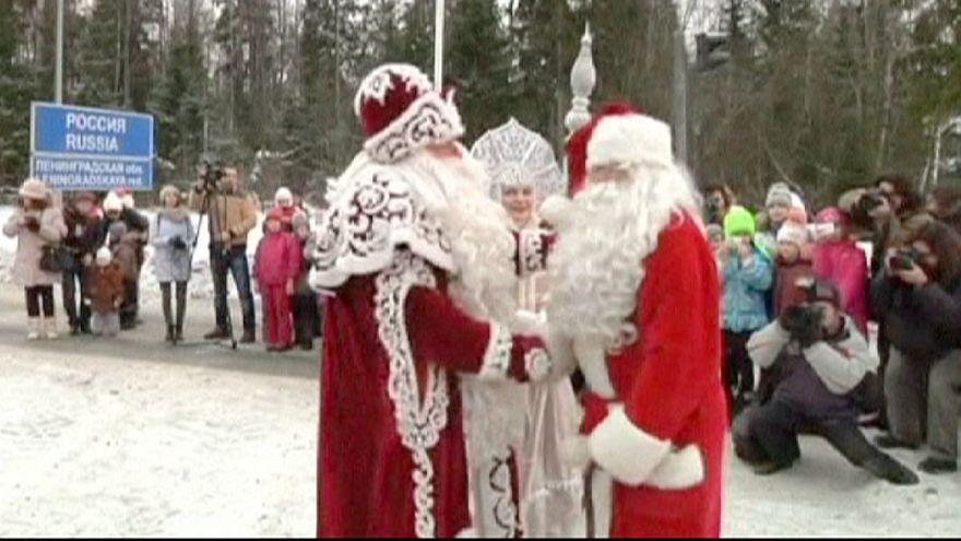 Rusya-Finlandiya sınırında Noel Baba buluşması