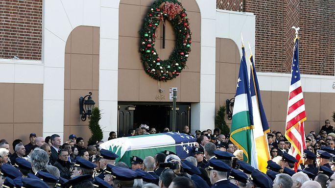 New York öldürülen polis memuru Ramos'u uğurladı