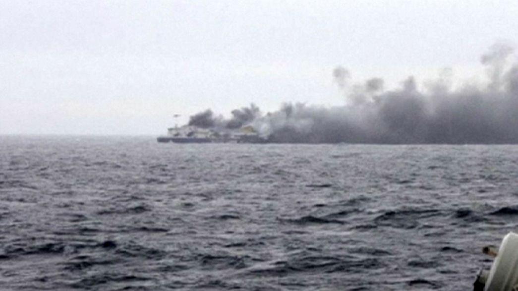 Uma vítima mortal do ferry que se incendiou no mar Adriático