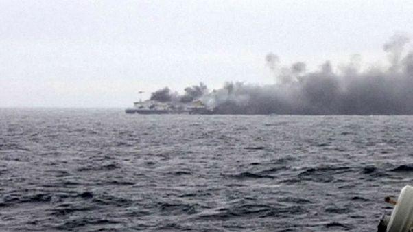Hundreds still stranded on burning ferry off coast of Greece