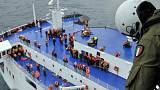 First rescued passengers from burning ferry arrive in Italy; dozens more still waiting onboard