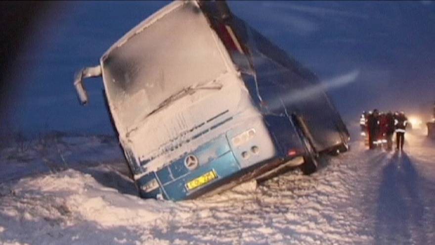 Romania trapped by snow