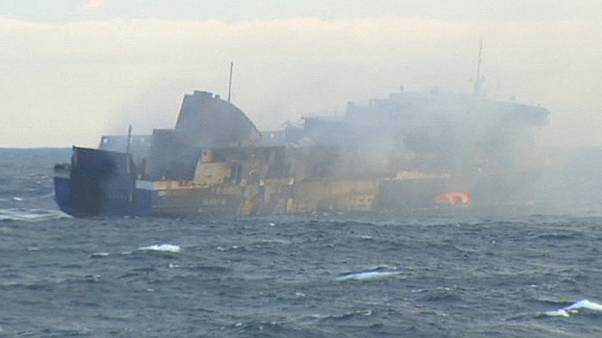 "Illegal immigrants ""hidden in hold"" onboard burning Greek ferry"
