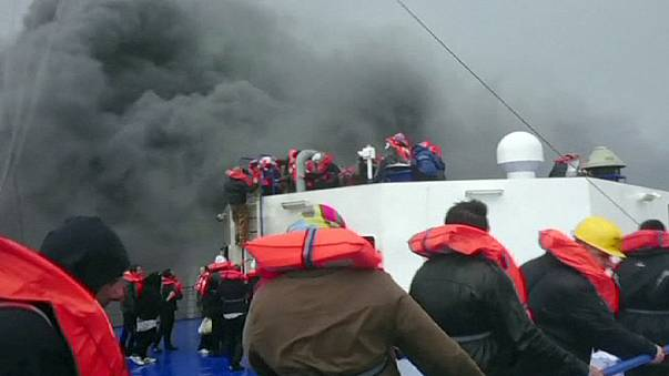 Dramatic phone footage of car ferry blaze, rescue