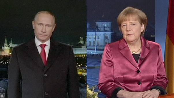 Ucrania, presente en los discursos de Fin de Año de Putin y Merkel