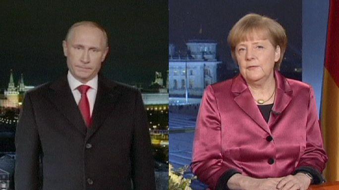 Putyin és Merkel is kitért az ukrán válságra újévi beszédében