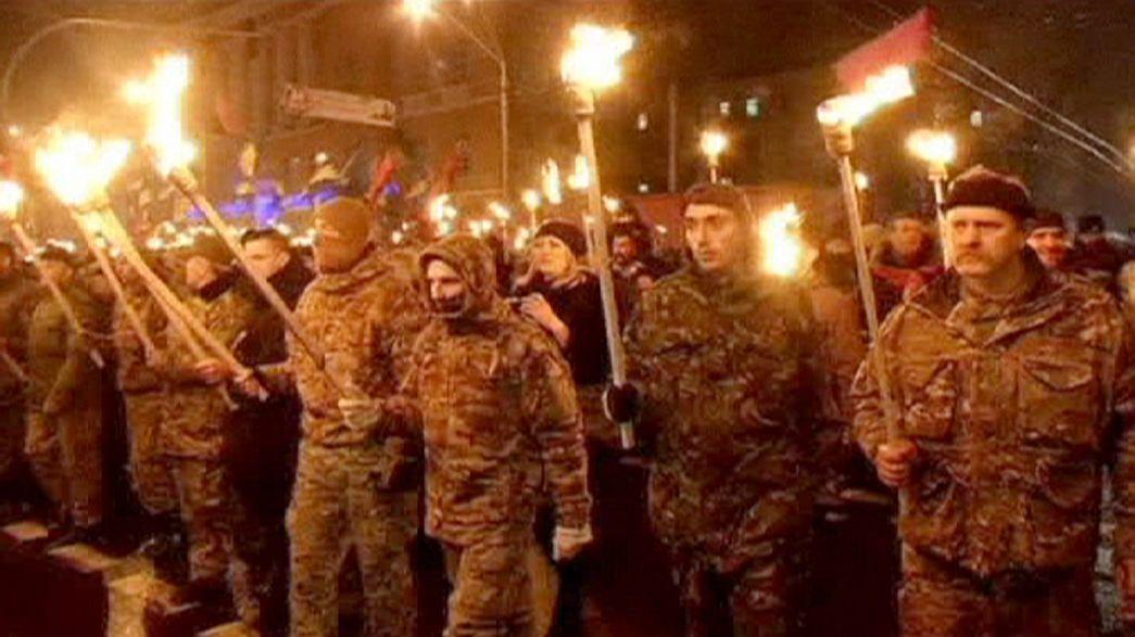 Ucranianos nacionalistas recuerdan a su líder ideológico