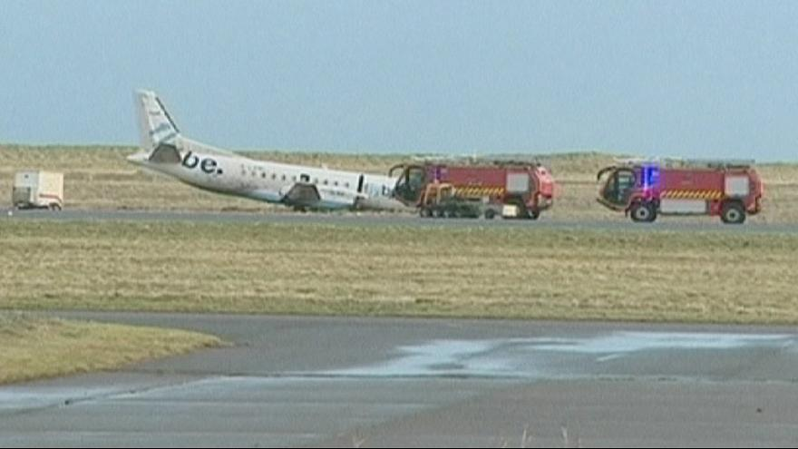 Airport terror as strong winds sweep plane off runway