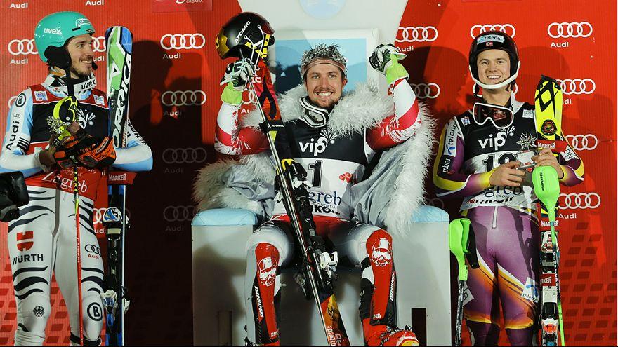 Marcel Hirscher dita leis em Zagreb, Stefan Kraft voa para a vitória no Quatro Trampolins