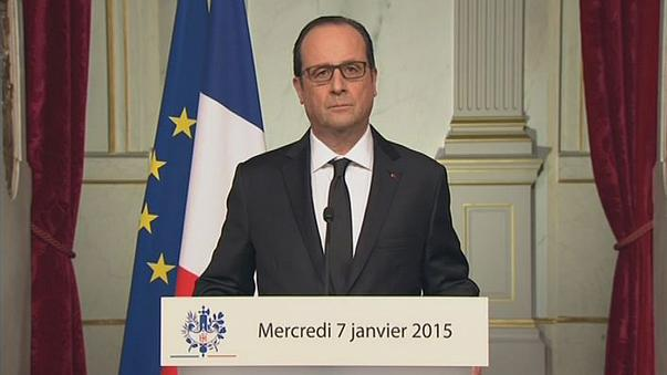 French President Francois Hollande calls for unity after the killings in Paris