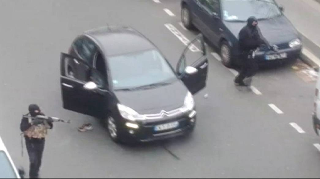 Hooded gunman storm the Paris offices of satirical magazine Charlie Hebdo
