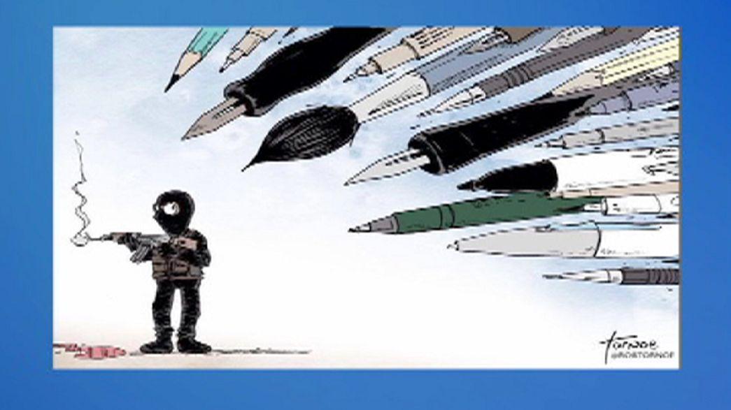 Dibujos homenaje a los caricaturistas asesinados en París