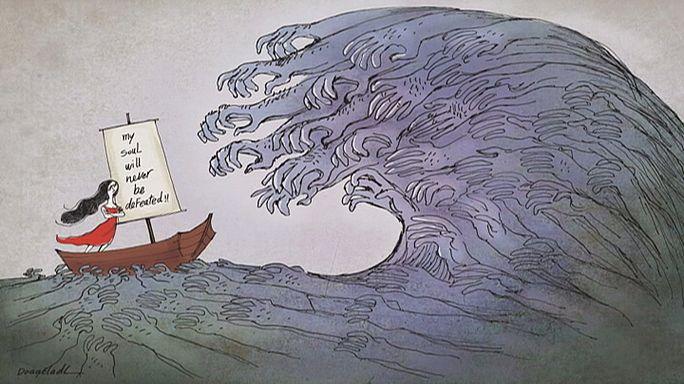 رسامو كاريكاتيرمبدعون رغم الخطر الذي يحيط بحياتهم