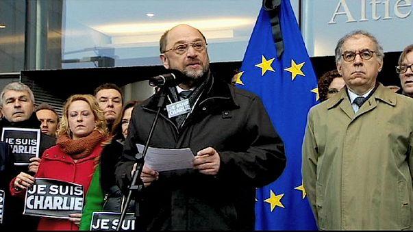 Homenaje de las instituciones europeas un día después del ataque