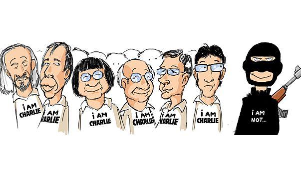 """Homenaje de """"elbartho"""", caricaturista de euronews, a sus colegas de Charlie Hebdo"""