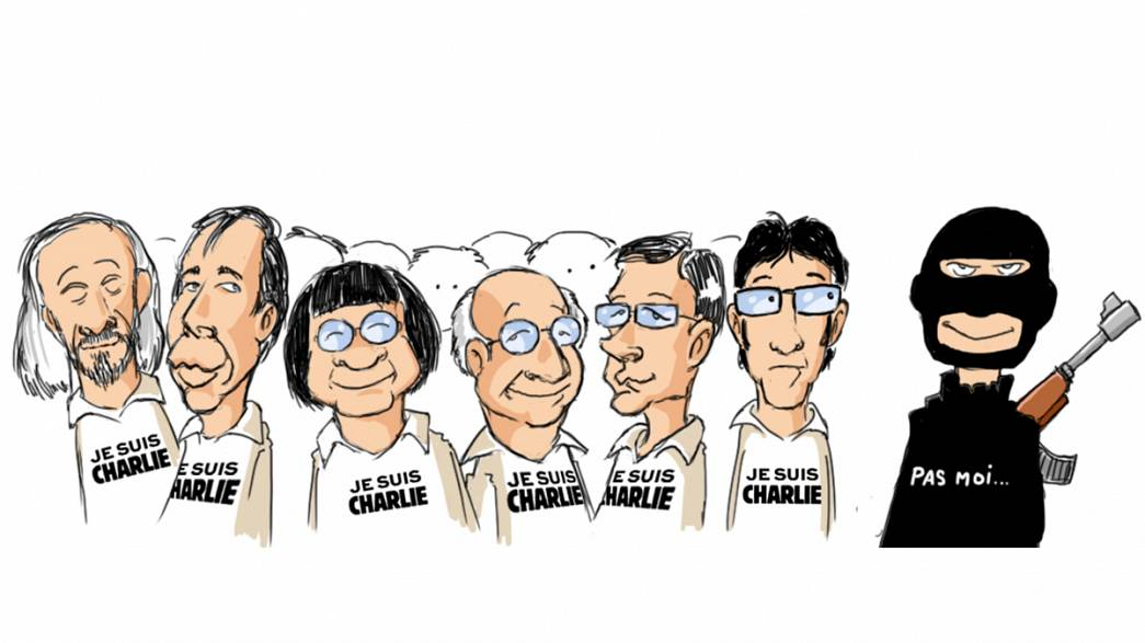 Hommage à Charlie Hebdo par elbarto, caricaturiste d'euronews
