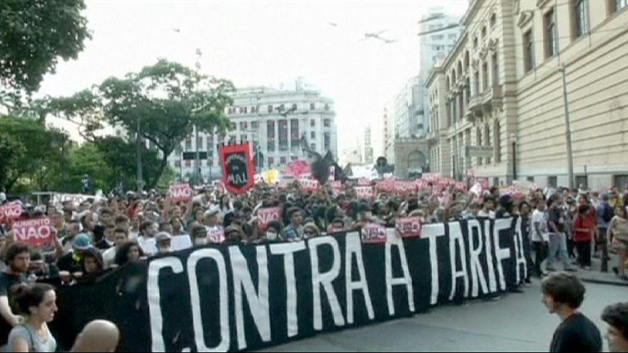 Protestas en Brasil por la subida de tarifas del transporte público