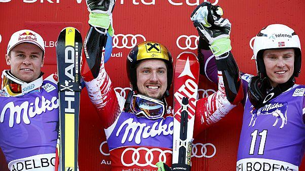 Hirscher wins giant slalom in Adelboden