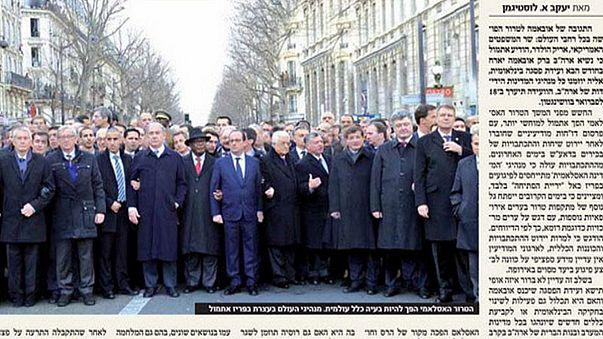 Charlie Hebdo: Israeli paper deletes women from Paris march