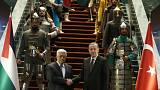 Erdogan gives a warrior welcome to Mahmoud Abbas