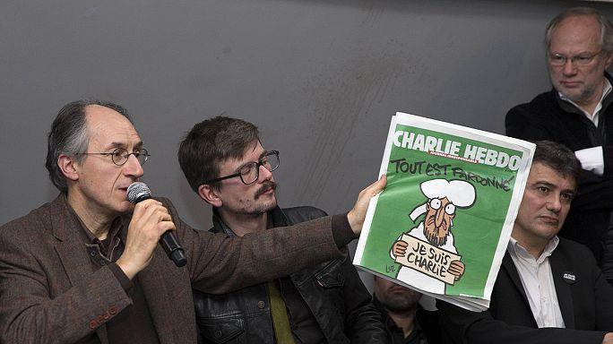 Les survivants de Charlie Hebdo présentent le nouveau numéro, avec Mahomet en Une