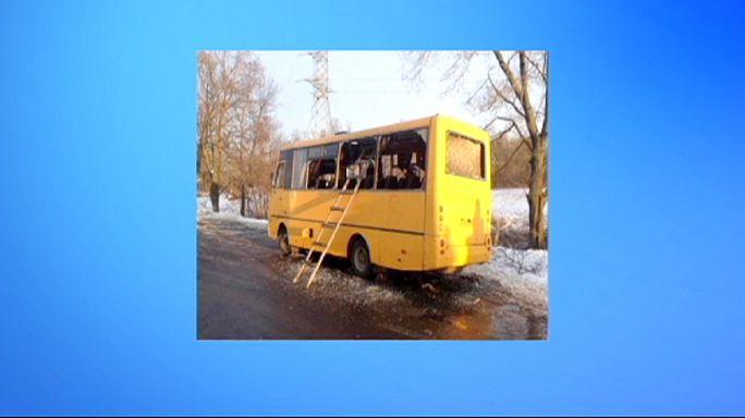 Rakétatámadás egy ukrán távolsági busz ellen